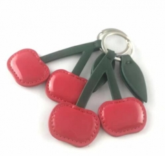 Custom Made Cherry Shaped Faux Leather Keyring Fob