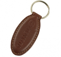 Oblong Brown Leather Key Ring