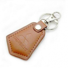 Light Brown Real Leather Keychains