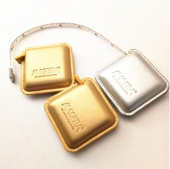 Custom Gold PU Leather Wrapped Square Tape Measure for Tailor